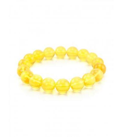 "Bracelet ""Lemon balls"" made of beautiful transparent glossy Baltic amber"