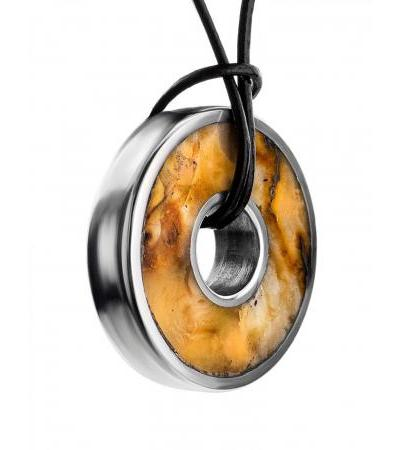 """Round pendant-washer """"Indonesia"""" with natural light amber"""