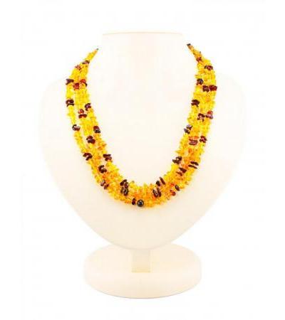"Elegant long beads from natural amber ""Motley Pebbles"""