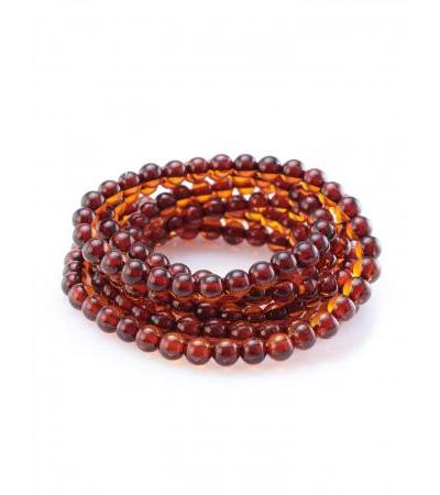 Unique elastic beads made of natural cognac amber to fix scarves