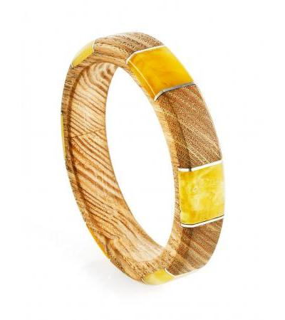 """Stylish bangle bracelet made of wood, natural Baltic amber and silver """"Indonesia"""""""