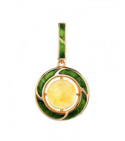 Кулон из серебра с зелёной эмалью и медового янтаря «Ампир»