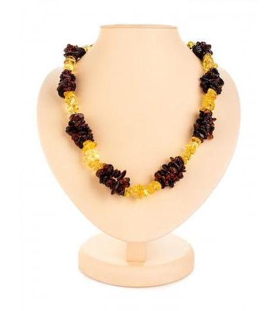 """Bright volumetric beads made of natural amber cherry and lemon """"Pigtail"""""""