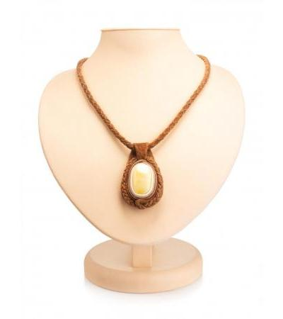 """Stylish necklace made of leather """"Amazon"""", decorated with natural milk amber"""