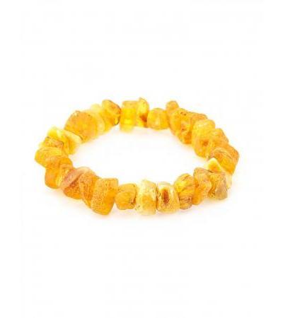 Healing bracelet made of natural unpolished amber, golden-cognac color