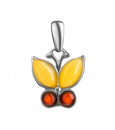 """Charming pendant made of silver and natural amber """"April"""""""