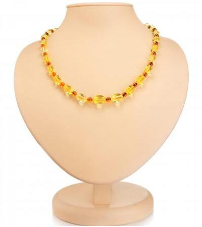 """Delicate necklace made of natural amber in two shades """"Alyonka"""""""