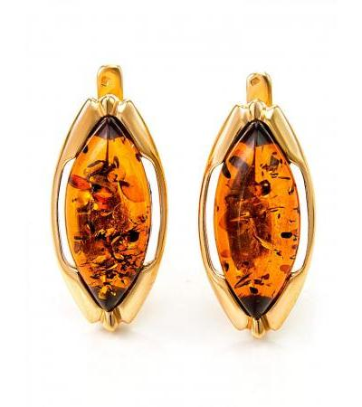 """Elegant earrings made of gilded silver with natural amber """"Ballada"""""""