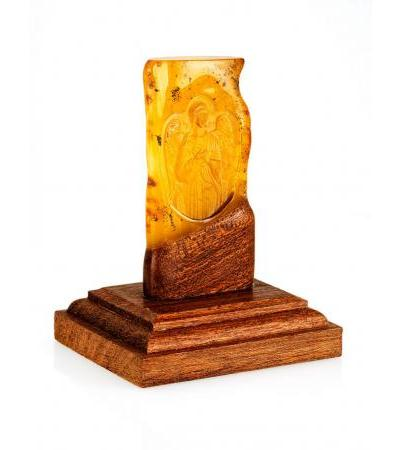 """Carving on natural solid amber """"Guardian Angel"""""""