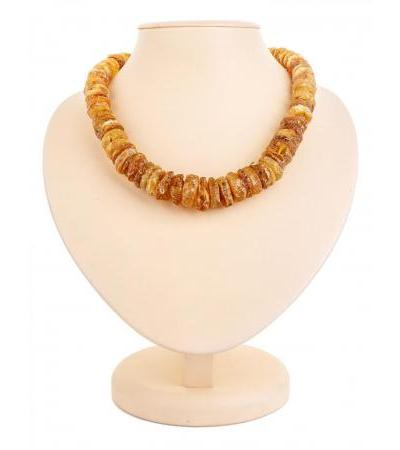 """Medical beads from natural solid amber """"Large wild washers"""""""