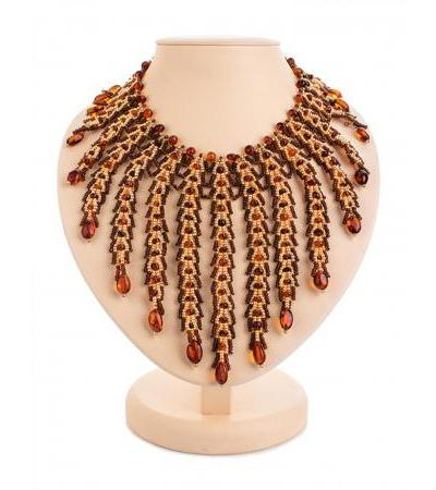 "Spectacular braided necklace made of beads and natural amber ""Lukomorye"""