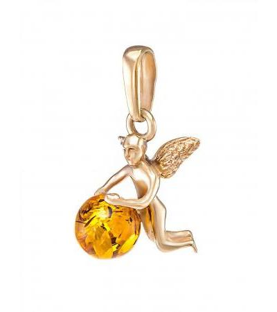 """Small pendant made of silver with gilding with natural cognac amber """"Angel"""""""