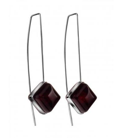 """Spectacular elongated earrings-hooks made of silver and amber cherry color """"Ovation"""""""