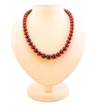 "Luxurious beads made of natural Baltic amber ""Cherry transparent ball"""