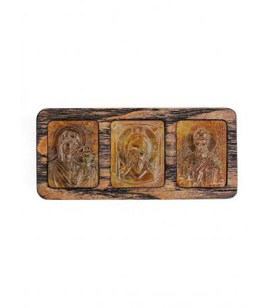 Car icon made of wood and natural Baltic amber with carving