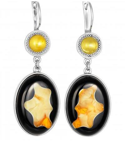 """Bright earrings made of silver and natural amber """"Panther"""""""