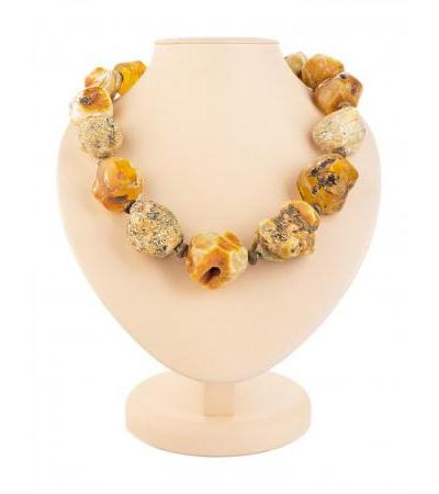 """Unique beads from large pieces of natural amber with natural texture """"Indonesia"""""""