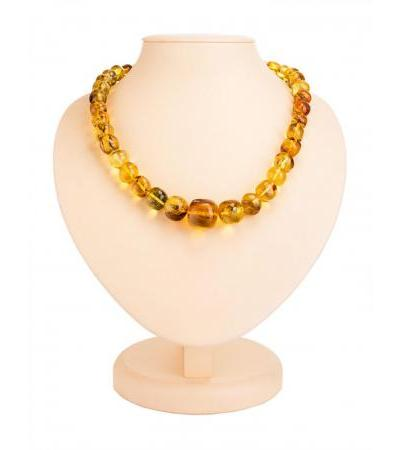 """Unique beads made of natural amber with inclusions """"Lemon crumpled ball"""""""