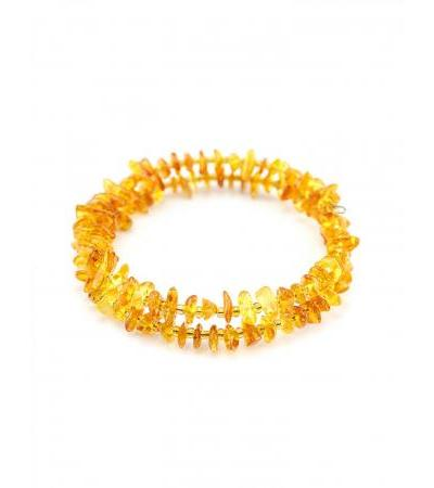 """Bracelet made of natural amber on a double string """"Small golden pebbles"""""""