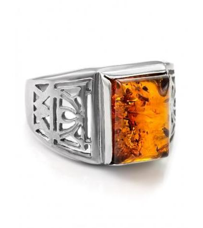 """Openwork silver ring with natural Baltic amber """"Caesar"""""""