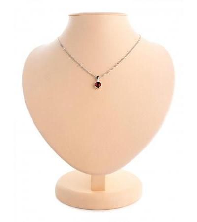 """Small silver pendant with amber on a chain """"Button"""""""
