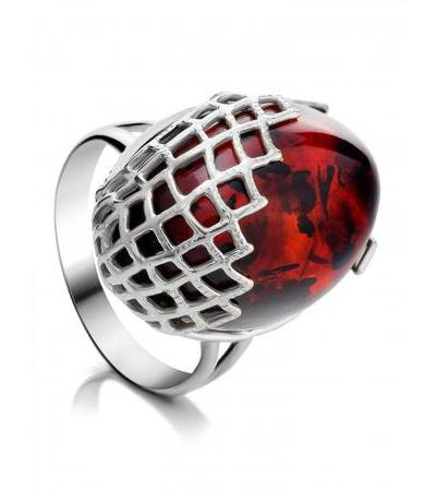"""Bright silver ring with cherry-colored amber """"Gossamer"""""""