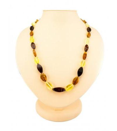 """Beads """"Alyonka"""" from natural Baltic amber cherry, cognac and lemon flowers"""