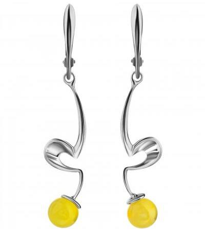 "Elongated earrings made of silver and natural solid amber of honey color ""Leia"""
