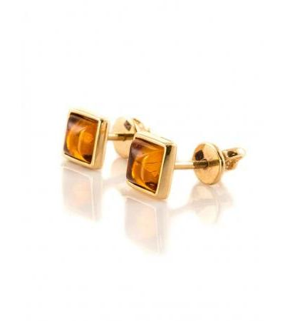 """Gold earrings-studs """"Square"""" with natural cognac amber"""