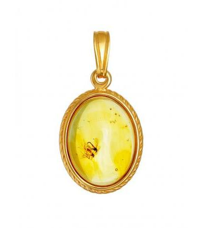 "Exquisite gilded pendant with amber with ""Clio"" inclusions"