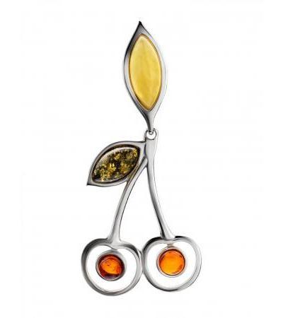 Очаровательная подвеска «Конфитюр» из серебра и натурального янтаря