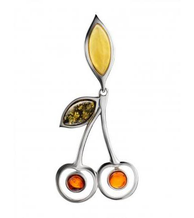 """Charming pendant """"Confiture"""" made of silver and natural amber"""