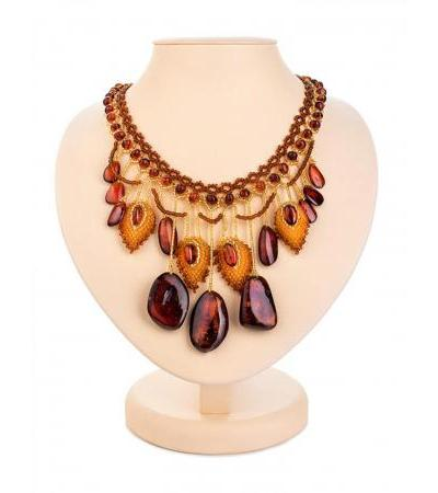 """Elegant braided necklace made of beads and natural Baltic amber """"Lukomorye"""""""