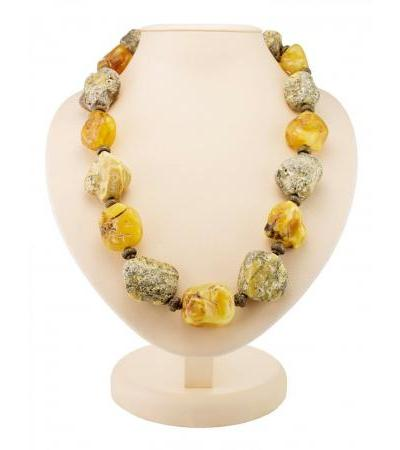 "Exotic necklace ""Indonesia"" from natural solid amber"