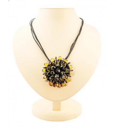 "Original necklace ""Chrysanthemum diamond"" from natural Baltic amber lemon and cherry flowers on a string"