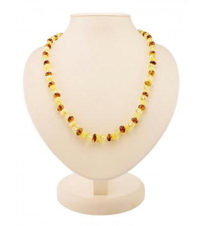 "Shining beads made of natural Baltic amber of three colors ""Small crumpled ball"""
