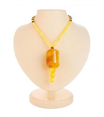 "Necklace with a large pendant ""Keg"" made of natural solid amber"