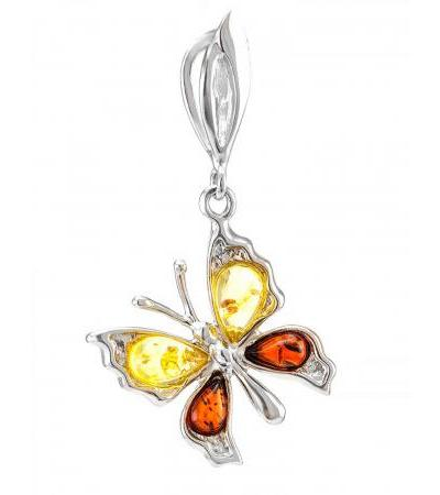 """Delicate silver pendant with natural Baltic amber in two colors """"April"""""""
