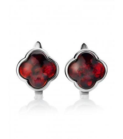 """Small earrings made of silver and natural amber on the English castle """"Monaco"""""""