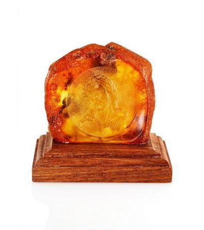 """Carved amber icon on a wood stand """"Christ in the crown of thorns"""""""