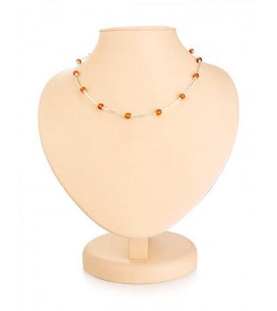 """Graceful necklace made of silver and natural solid amber """"Caramel"""""""