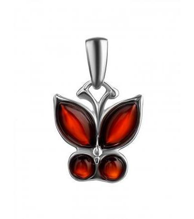 Небольшой кулон в виде бабочки из серебра и вишнёвого янтаря «Апрель»