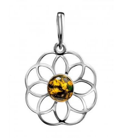 """Openwork pendant """"Avignon"""" made of silver with green amber"""