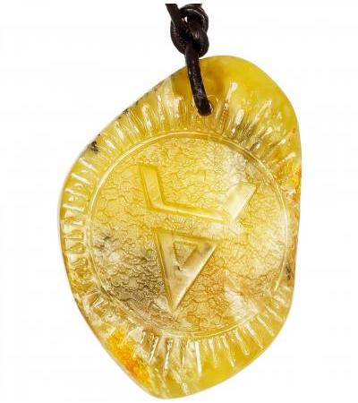 Veles' symbol is a charm carved on natural solid amber