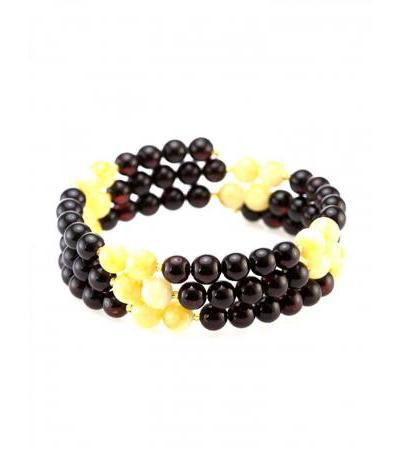 """Spectacular bracelet made of natural molded Baltic amber beads """"Angelica"""""""