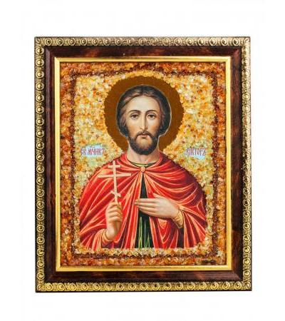 """Amber icon """"Holy Martyr Victor"""""""