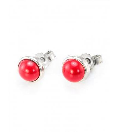 """Bright earrings-studs made of silver with inserts from natural coral """"Berries"""""""