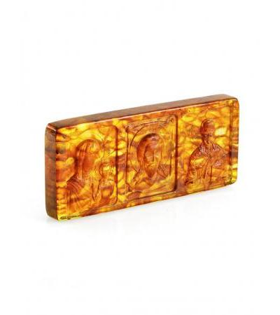 """Carved amber icon for the car """"Nicholas the Wonderworker. Spas. Mother of God """""""