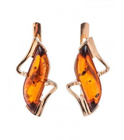 """Gold earrings with inserts of natural Baltic amber in cognac color """"Vesta"""""""