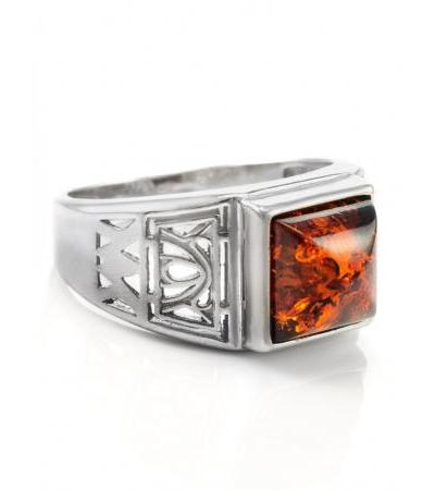 """Silver ring with an insert from amber cognac color """"Caesar"""""""